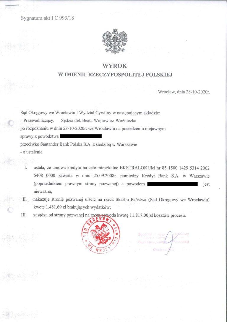 Wyrok sądu we Wrocławiu na korzyść klienta Kancelarii Prawnej Chudzikowski