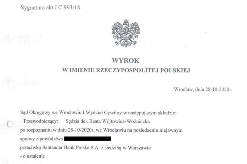 Wyrok Sądu Okręgowego we Wrocławiu na korzyść osób, które wzięły kredyt we frankach szwajcarskich