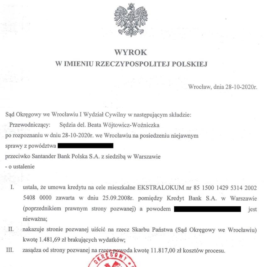 Wyrok sądowy na korzyść frankowiczów, którzy pozwali bank